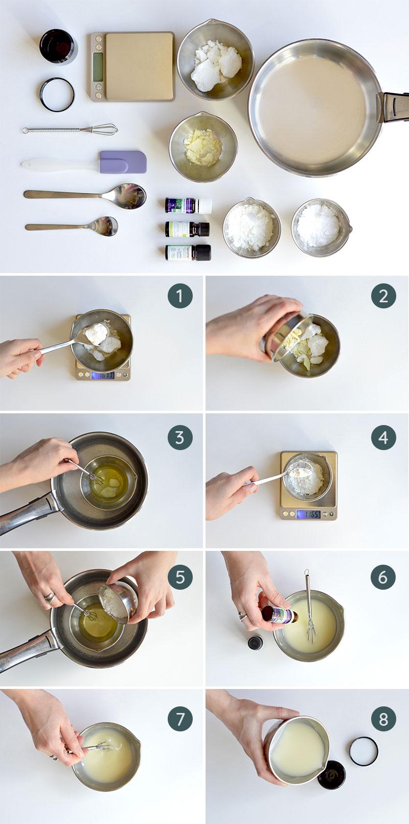Ceci est une image représentant les différentes étapes de fabrication d'un déodorant crème home made.
