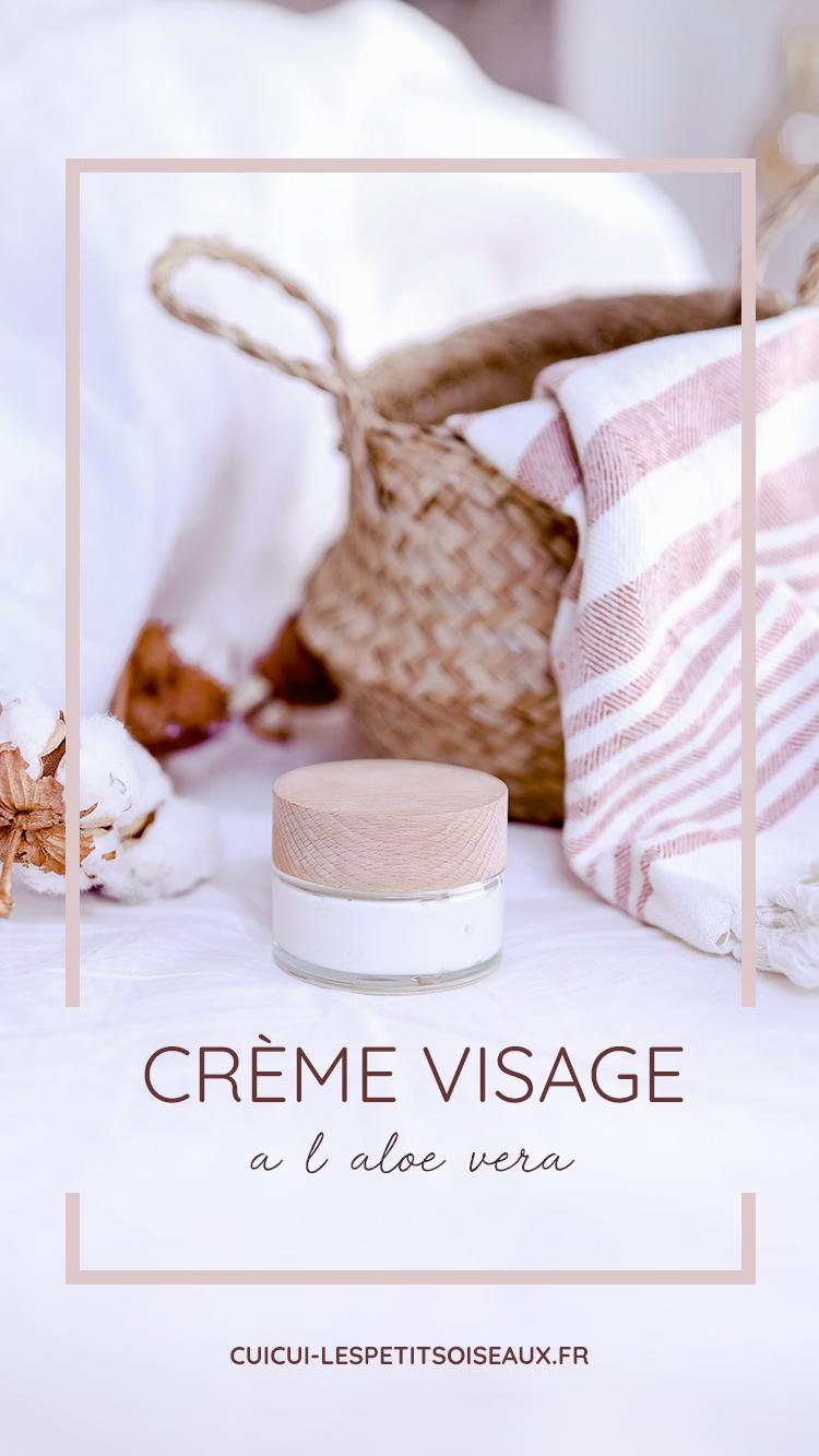 visuel Pinterest de la recette de crème visage maison à l'aloe vera